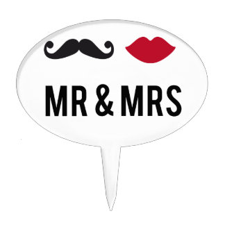 mr. and mrs. with mustache and red lips cake topper