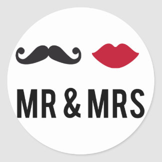 mr. and mrs. with mustache and red lips classic round sticker