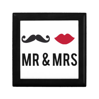 mr. and mrs. with mustache and red lips trinket box