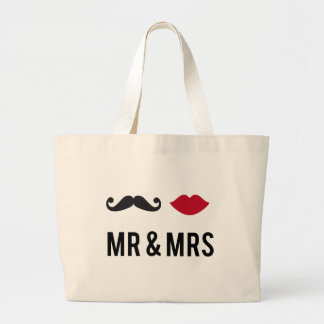 mr. and mrs. with mustache and red lips large tote bag