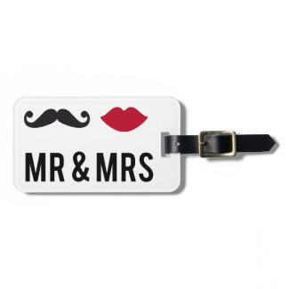 mr. and mrs. with mustache and red lips luggage tags