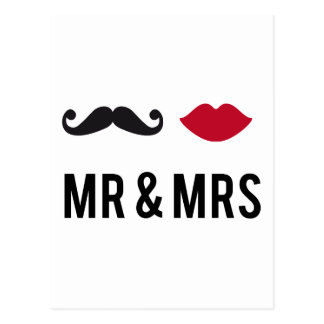 mr. and mrs. with mustache and red lips postcard