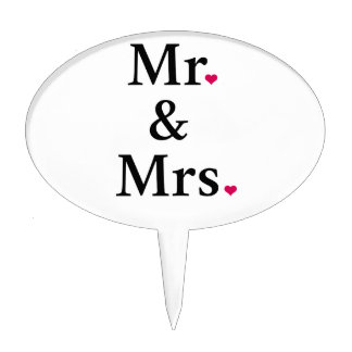 mr. and mrs. with two red hearts cake topper