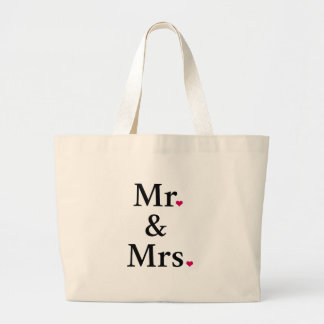 mr. and mrs. with two red hearts large tote bag