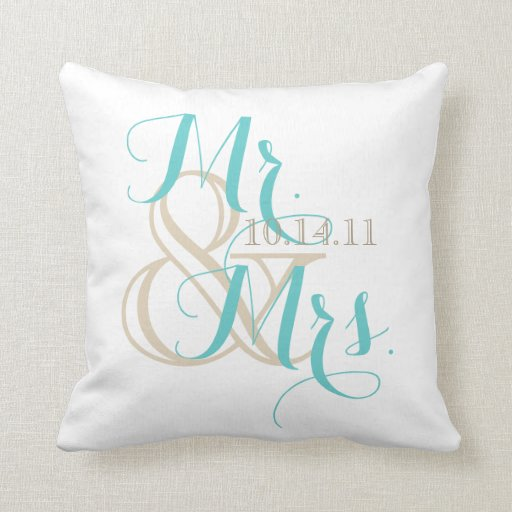 Mr And Mrs With Wedding Date Throw Pillow Zazzle