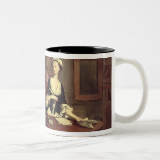 Mr. B. finds Pamela writing, illustration from Ric Two-Tone Coffee Mug