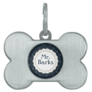 Mr. Barks - Classy Navy Blue Personalized Monogram Pet Name Tag