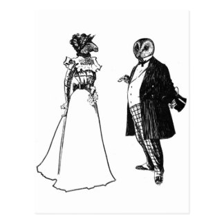 Mr Barnowl & Mrs Llama Postcard