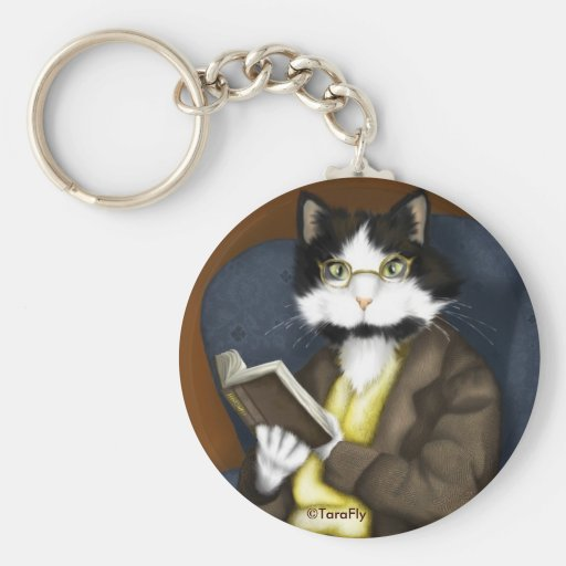 Mr Bennet Cat in Library keychain
