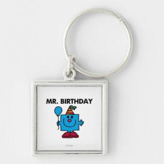 Mr. Birthday | Happy Birthday Balloon Silver-Colored Square Keychain