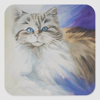 Mr. Blue Eyes, watercolor cat painting Square Stickers