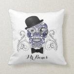 Mr Bones Fun Ornate Sugar Skull Design Pillows