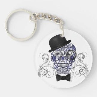 Mr Bones Fun Ornate Sugar Skull Graphic Image Keychain