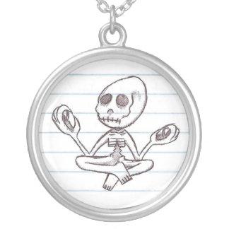 Mr. Bones Round Pendant Necklace