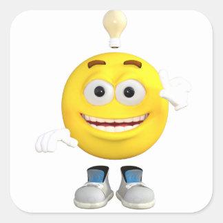 Mr. Brainy the Emoji that Loves to Think Square Sticker