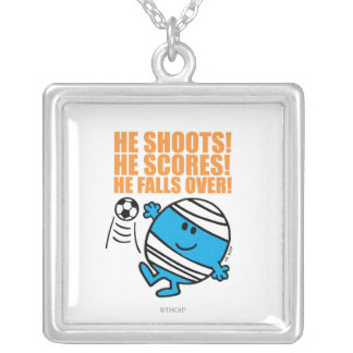 Mr. Bump Playing Soccer Silver Plated Necklace