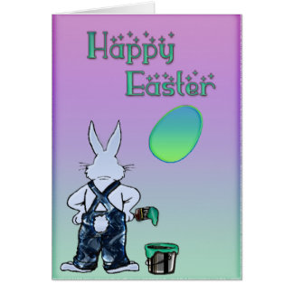 Mr. Bunny Painted Easter Cartoon Card