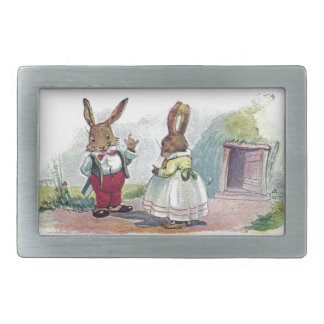 Mr Bunny Smiles at His Wife Rectangular Belt Buckle