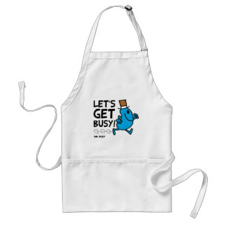 Mr. Busy | Let's Get Busy Black Text Adult Apron