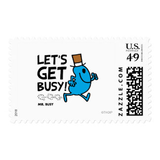 Mr. Busy | Let's Get Busy Black Text Postage