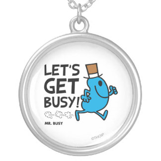 Mr. Busy | Let's Get Busy Black Text Silver Plated Necklace