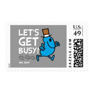 Mr. Busy | Let's Get Busy White Text Postage