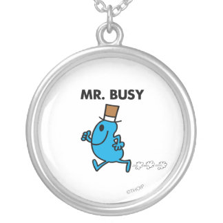 Mr. Busy Running Quickly Round Pendant Necklace