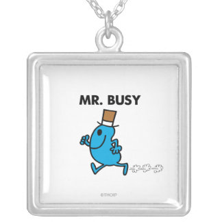 Mr. Busy Running Quickly Square Pendant Necklace