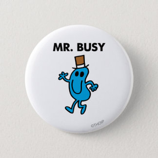 Mr. Busy Waving Hello Pinback Button