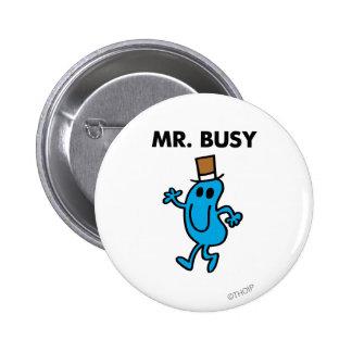 Mr. Busy Waving Hello Pinback Button