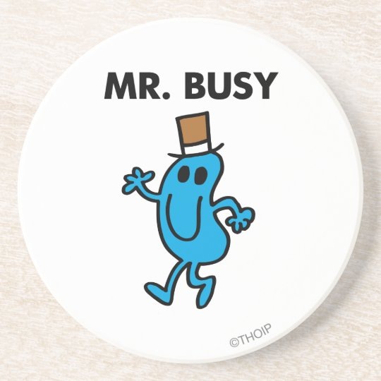 Mr. Busy Waving Hello Sandstone Coaster