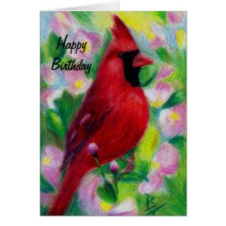 Mr. Cardinal aceo Birthday Card Card