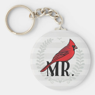 Mr. Cardinal Mr and Mrs His and Hers Keychain
