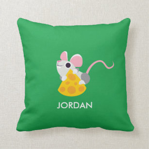 Mr. Cheeseman the Mouse Throw Pillow