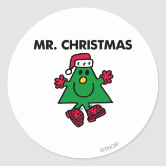 Mr. Christmas | Festive Hat & Gloves Classic Round Sticker