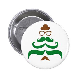 Mr Christmas Mustache Tree Pinback Buttons