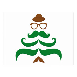 Mr Christmas Mustache Tree Postcard