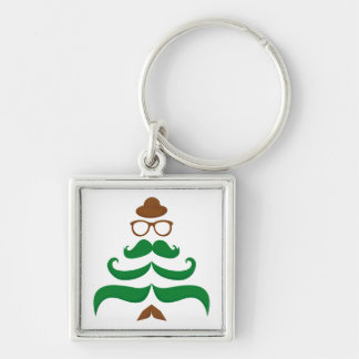 Mr Christmas Mustache Tree Silver-Colored Square Keychain