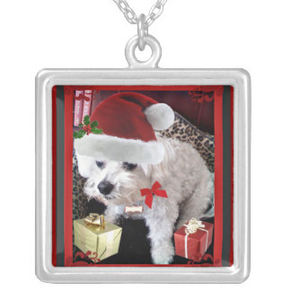 MR. CLAWS CHRISTMAS DOG PRINT SQUARE PENDANT NECKLACE