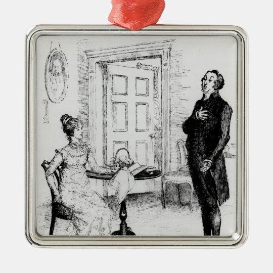 Mr Collins and Elizabeth Metal Ornament