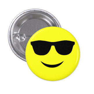 Mr Cool Smiley Face Pinback Button Badge