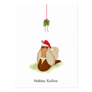 Mr. Cool Snail in Suit and Tie under the Mistletoe Postcard