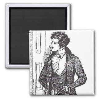 Mr Darcy at the Door 2 Inch Square Magnet