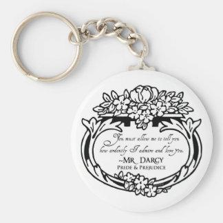 Mr Darcy Loves and Admires Basic Round Button Keychain