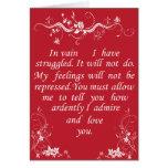 Mr Darcy Valentine Card no1 - Pride and Prejudice Wenskaarten