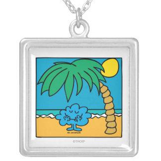 Mr. Daydream Beach Scene Square Pendant Necklace