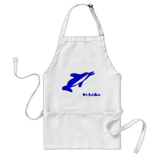Mr. Dolphin- a dolphin graphic in blue and white Apron