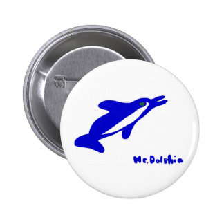 Mr. Dolphin- a dolphin graphic in blue and white Pin