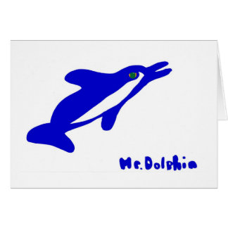 Mr. Dolphin- a dolphin graphic in blue and white Greeting Card