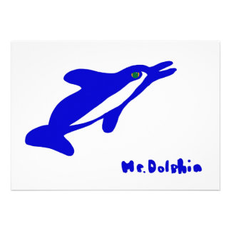 Mr Dolphin- a dolphin graphic in blue and white Custom Invites